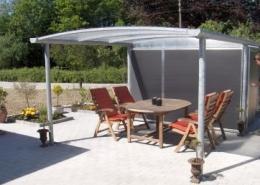 Terrasse overdækning med redskabsrum